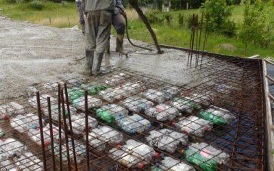 Construcción de losas alivianadas con botellas